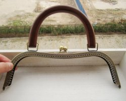Extra Large Antique Gold Purse Frame w/ Wood Handle - 10 1/4""