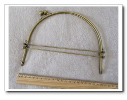 8 Inch Antique Lacis Metal Purse Frame w/Ball Clasp Handles