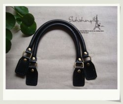 Leather Purse Bag Handles 420MM Black 5Pairs