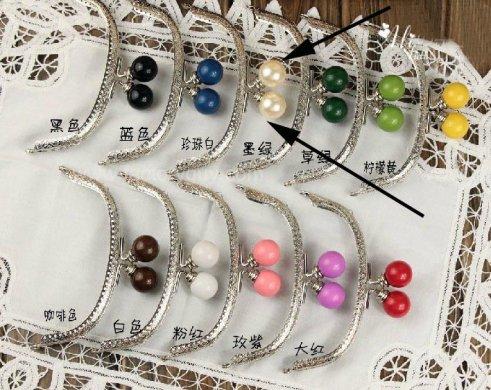 125cm silver metal coin purse frames pearl bead